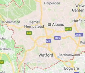 map of hertfordshire showing area covered